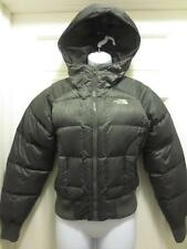 THE NORTH FACE Womens CHARCOAL Gray 550 GOOSE DOWN Fill HOODED COAT Jacket XS