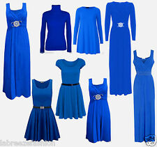 Ladies Valentine's Evening Royal Blue Swing Diamante Maxi Dress Gown Skater Top