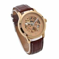 Hot Men Luxury Automatic Mechanical Skeleton Wrist Watch Stainless Steel Leather