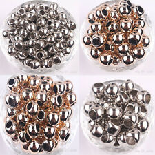 20/50Pcs Rose Golden Silver Big Hole Round Spacer Beads Bracelet DIY 10/12/14MM