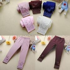 Cute Kids Girls Tight Pants Lace Butterfly Warm Stretchy Leggings Trousers 2-6Y