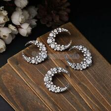 Punk Hip Hop Fashion Lady Jewelry Moon Shape Crystal Rhinestone Earring Ear Stud