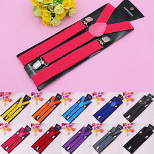 Fashion Elastic Y-Shape Braces Clip-on Suspenders Women's Unisex Mens Adjustable