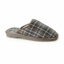 Dunlop ACELET Mens Slip On Comfort Cushioned Checked Mule Slippers Grey/Navy