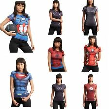 2017 Sports Marvel Superhero Compression T-shirts Women Lady's Cycling Jersey