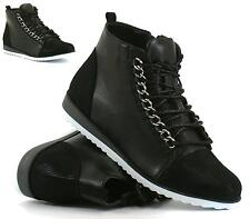 WOMENS LOW WEDGE FLAT LACE UP HI TOPS PLATFORM TRAINERS ANKLE BOOTS SHOES