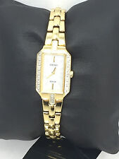 Ladies Seiko SUP236 Gold Tone Stainless Steel Diamond Accented MOP Solar Watch