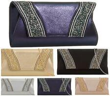 LADIES ENVELOPE SHIMMER PARTY PROM BRIDAL EVENING CLUTCH HAND BAG PURSE HANDBAG