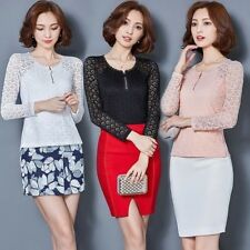 Womens Lady Sexy Elegant Slim Long Sleeve Lace Mesh T Shirt Blouse Tops Hipster