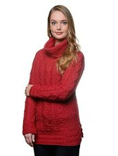 Ladies Aran Red Cowl Neck Tunic Sweater by Carraig Donn Merino Wool A191