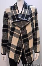 SAMYA PLUS SIZE WATERFALL PLAID CHECK KNITWEAR CARDIGAN JACKET BLACK  RRP £45.00