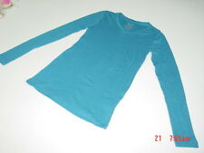 NWT Womens V Neck Faded Glory Pullover Shirt Top Teal Long Sleeve Fashion Wear
