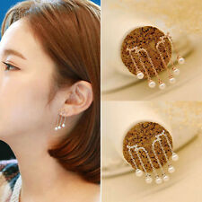 Women Gold Silver Plated Tassel Pearl Drop Dangle Ear Stud Earrings popular
