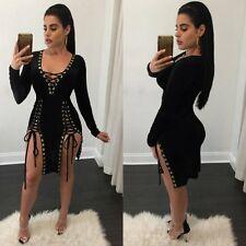 Fashion Women Bandage Bodycon Evening Long Sleeve Sexy Party Cocktail Mini Dress