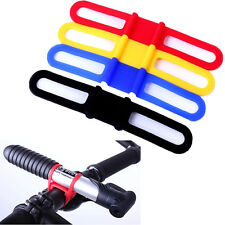 5Pcs Cycling Bicycle Bike Silicone Elastic Strap Bandage Flashlight Mount Holder