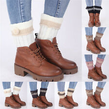 Women Leg Warmer Winter Boot Toppers Cuffs Crochet Knitted Leggings Boot Sock s4