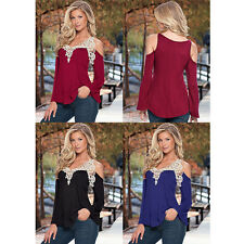 New Sexy Womens V-Neck Lace T-Shirt Slim Long Sleeve Off Shoulder Blouse Tops