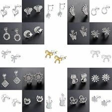 925 Sterling Silver Crystals CZ Ear Stud Dangle Fashion Women Earrings Jewelry