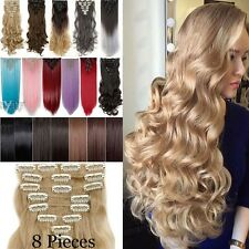 Women Thick Double Weft Full Head Real Clip in Hair Extensions Curly 145-200g FQ