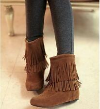 fashion womens ankle tassels winter fur boots wedge high heel shoes plus size@1