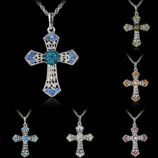Silver Jewelry CROSS Crystal Pendant Sweater Chain Necklace Women Gift fVF