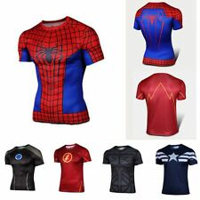 Hot Spiderman Batman Superhero Sport Gym T-Shirts Bicycle Jersey Cycling Costume