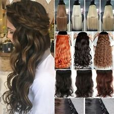 UK Any Hair Style Full Head Clip in Natural Hair Extensions Long Fake hairpiece