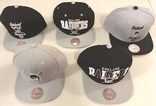OAKLAND RAIDERS FLAT BRIM SNAP BACK VINTAGE RETRO TEAM LOGO CAPS MITCHELL & NESS