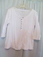Relativity Sz PM White Cotton Ribbed Knit 6 Button 3/4 Sleeve Top