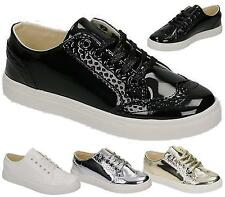 NEW WOMENS TRAINERS LADIES BROGUE PUMPS FLATS LACE UP SKATER SHOES CASUAL SIZE