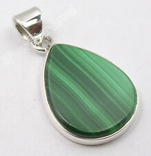 925 Solid Silver MALACHITE, LAPIS & Other DROP FLAT Gemstones Variation Pendant