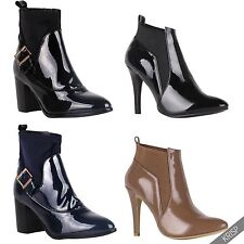 Womens Ladies Retro Fashion Patent Elastic Ankle Boots Low Mid Block Heel Shoes