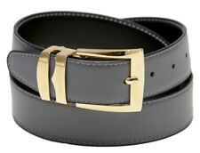 Reversible Belt Wide CHARCOAL GREY / Black with White Stitching Gold-Tone Buckle