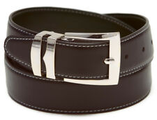 Reversible Belt Wide BROWN / Black with White Stitching Silver-Tone Buckle