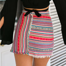 Ethnic Womens Retro Striped Boho Skirt Package Hip Beach A Line Short Mini Dress