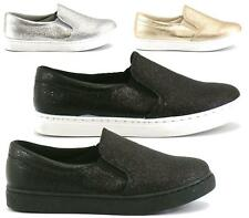 LADIES WOMENS GLITTER PUMPS SLIP ON TRAINERS FLAT CASUAL SKATER SHOES SIZE