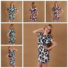 Stylish Women O-neck Dress Summer Leopard Casual CLUB Evening Party Mini Dress