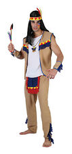 Adults Indian Brave Warrior Wild West Costume Men Fancy Dress Outfit