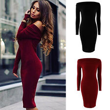 Sexy Womens Knit Off Shoulder Bodycon Sweater Dress Long Sleeve Party Mini Dress