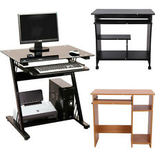 Wooden/Glass Computer Desk Basic Home Office Table Workstation Wood PC Laptop