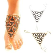 Womens Unique Triangle Ankle Slave Chain Toe Ring Harness Beach Bracelet Anklet