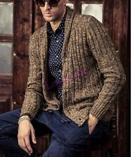 Casual Mens British Sweater Cardigan V neck Knitting Jacket Slim Outwear Leisure