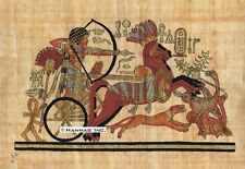 """Egyptian Papyrus Painting - King Tut hunting Ostriches 8X12"""" + Hand Painted #34"""