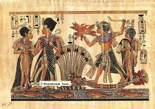 "Egyptian Papyrus Painting - Tut and Wife Hunting 8X12"" + Hand Painted #31"