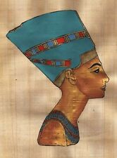 "Egyptian Papyrus Painting Queen Nefertiti 7X9"" + Hand Painted + Description #22"