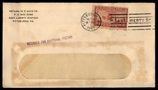 E LIBERTY STA PITTSBURGH PA OCT 1940 SINGLE FRANKED COVER RETURNED POSTAGE DUE