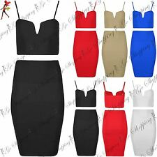 Womens Ladies Plain V Neck Bralet Camisole Cropped Top Skirts 2 Piece Co Ord Set