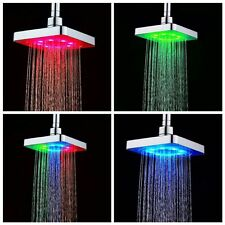 Luxury Auto Color Changing LED Light Home Bathroom Square Shower Rain Heads 6''