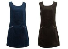 Vintage style 1960s style Brown Teal Fine Cord Pinafore Tunic dress UK 10-20