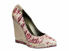 Lanvin wedges high heeles pumps in pink/white snakeskin leather